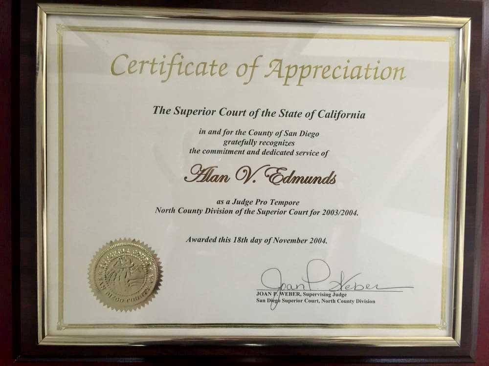 CErtificate Of Appreciatian Alan Edmunds